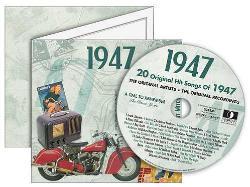 1947 Classic Years Greeting Card with Hit Songs, Download Code and retro CD