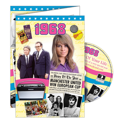 1968 Year Of Birth Greeting Card with DVD