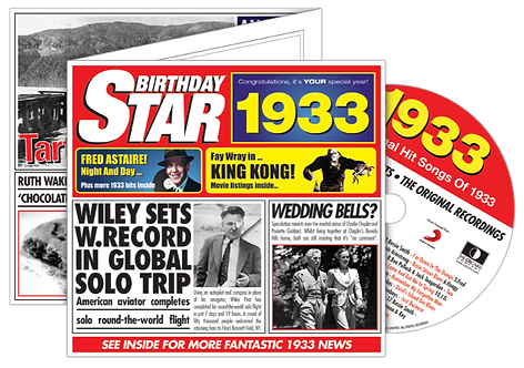 1933 Birthday Star Greeting Card with Hit Songs, Download Code and retro CD