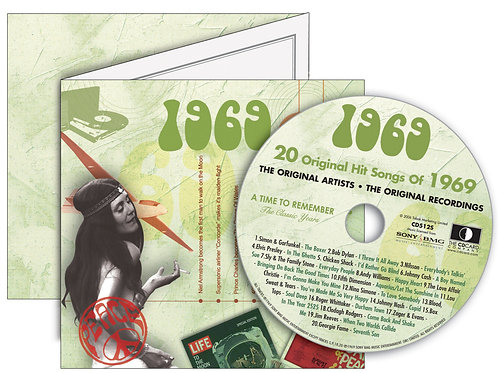 1969 Classic Years Greeting Card with Hit Songs, Download Code and retro CD