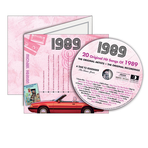 1989 Classic Years - Year Of Birth Music Downloads Greeting Card + Retro CD