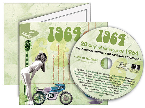 1964 Classic Years Greeting Card with Hit Songs, Download Code and retro CD