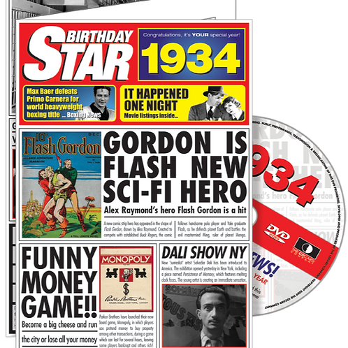 1934 Birthday Star Greeting Card with DVD