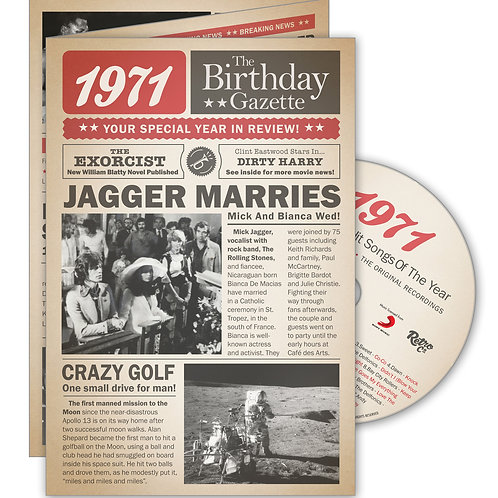 1971 Gazette Greeting Card with Hit Songs, Download Code and retro CD