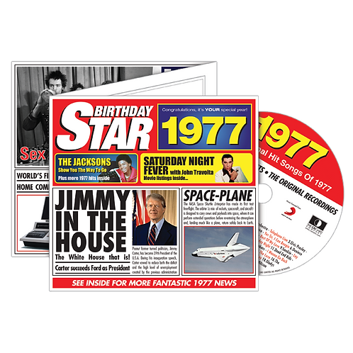 1977 Birthday Star Greeting Card with Hit Songs, Download Code and retro CD