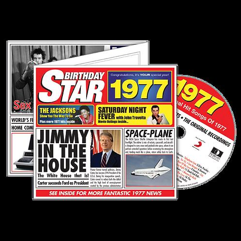 1977 Birthday Star - Year Of Birth Music Downloads Greeting Card + Retro CD