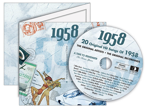 1958 Classic Years Greeting Card with Hit Songs, Download Code and retro CD
