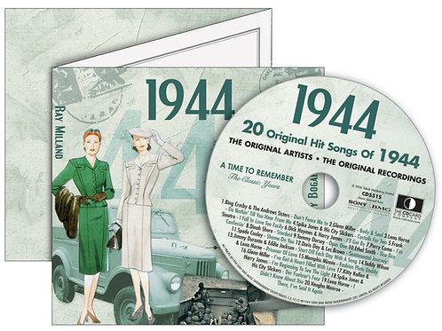 1944 Classic Years Greeting Card with Hit Songs, Download Code and retro CD