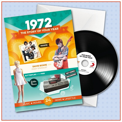 1972 Booklet Greeting Card with Hit Songs, Download Code and retro CD
