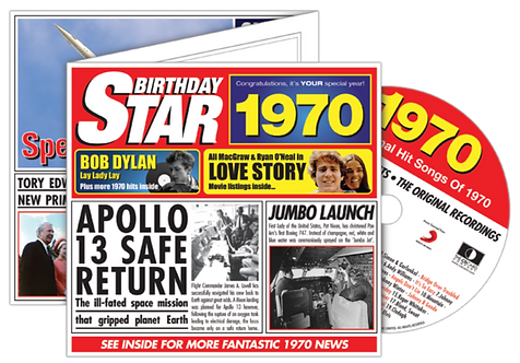 1970 Birthday Star Greeting Card with Hit Songs, Download Code with retro CD