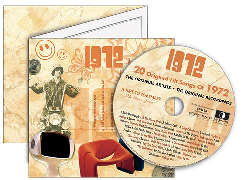 1972  Classic Years Greeting Card with Hit Songs, Download Code and retro CD