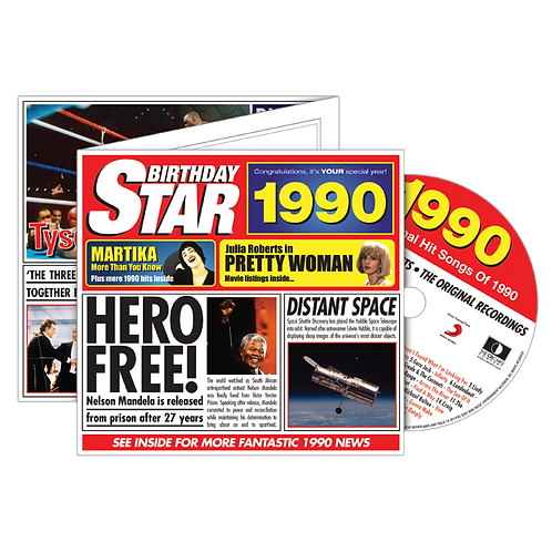 1990 Birthday Star Greeting Card with Hit Songs, Download Code and retro CD