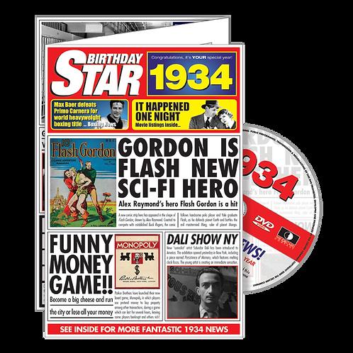 1934 Birthday Star - Year Of Birth Greeting Card with DVD