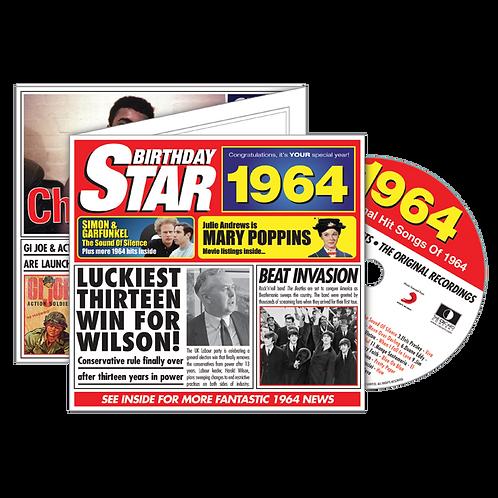 1964 Birthday Star - Year Of Birth Music Downloads Greeting Card + Retro CD