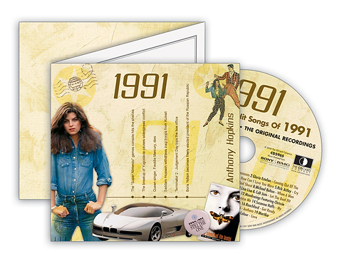 1991 Classic Years Greeting Card with Hit Songs, Download Code and retro CD