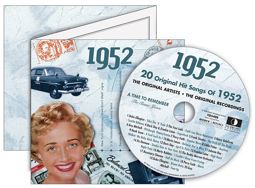 1952 Classic Years Greeting Card with Hit Songs, Download Code and retro CD