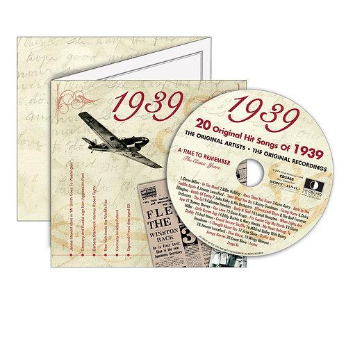 1939 Classic Years - Year Of Birth Music Downloads Greeting Card + Retro CD