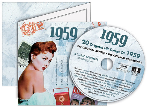 1959 Classic Years Greeting Card with Hit Songs, Download Code and retro CD