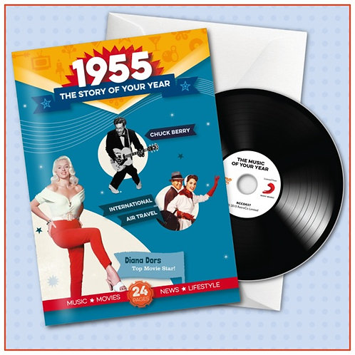 1955 Booklet Greeting Card with Hit Songs, Download Code and retro CD