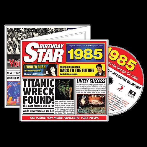 1985 Birthday Star - Year Of Birth Music Downloads Greeting Card + Retro CD