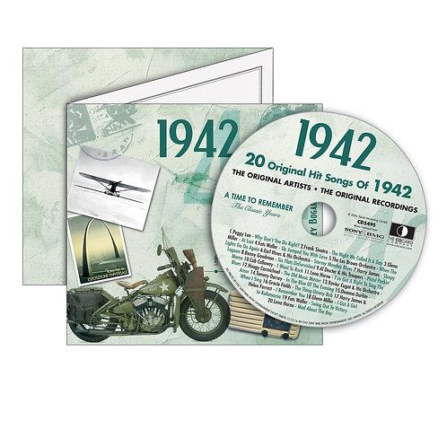 1942 Classic Years - Year Of Birth Music Downloads Greeting Card + Retro CD