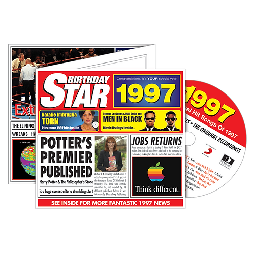 1997 Birthday Star Greeting Card with Hit Songs, Download Code and retro CD