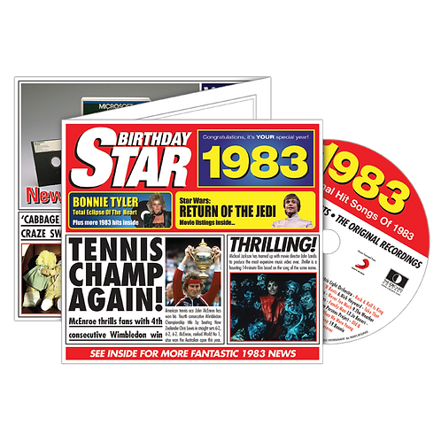 1983 Birthday Star Greeting Card with Hit Songs, Download Code and retro CD