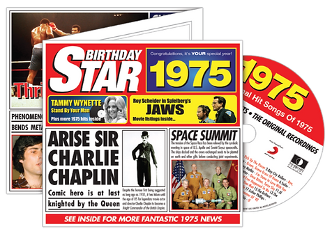 1975 Birthday Star Greeting Card with Hit Songs, Download Code and retro CD