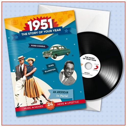 1951 Booklet Greeting Card with Hit Songs, Download Code and retro CD