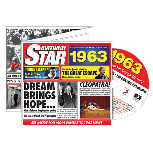 1963 Birthday Star - Year Of Birth Music Downloads Greeting Card + Retro CD