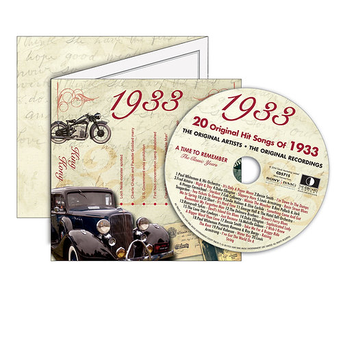 1933 Classic Years - Year Of Birth Music Downloads Greeting Card + Retro CD
