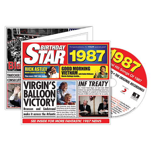 1987 Birthday Star - Year Of Birth Music Downloads Greeting Card + Retro CD