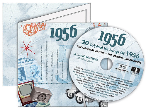 1956 Classic Years Greeting Card with Hit Songs, Download Code and retro CD