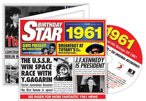 1961 Birthday Star Greeting Card with Hit Songs, Download Code and retro CD