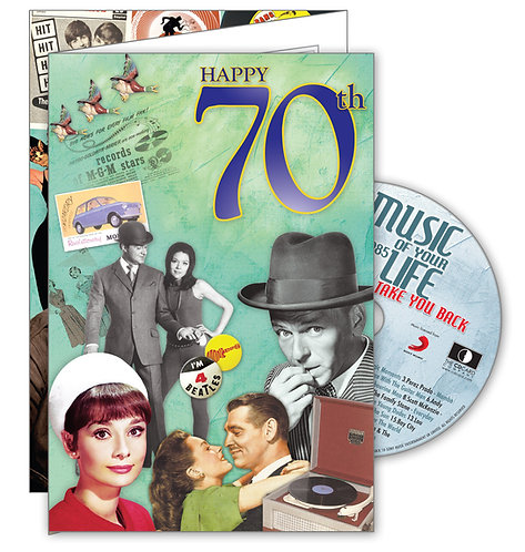 70th Birthday Big Greeting Card with Hit Songs, Download Code and retro CD