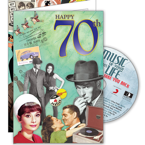 70th Birthday Big Milestones Card with Hit Songs, Download Code and retro CD