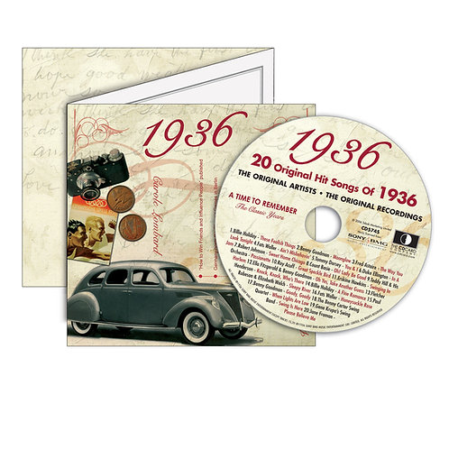 1936 Classic Years - Year Of Birth Music Downloads Greeting Card + Retro CD