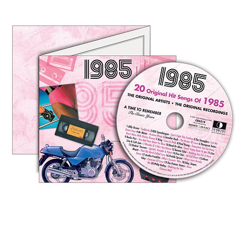 1985 Classic Years Greeting Card with Hit Songs, Download Code and retro CD