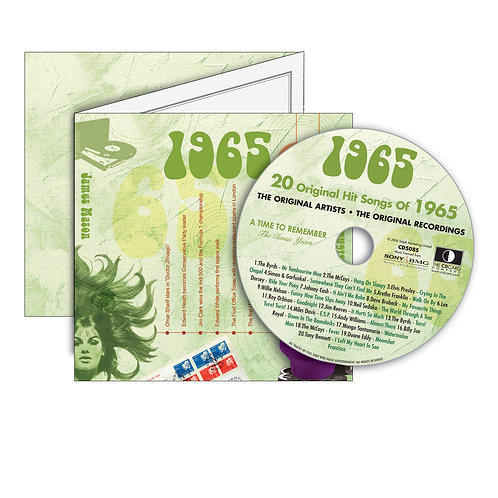 1965 Classic Years - Year Of Birth Music Downloads Greeting Card + Retro CD
