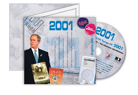 2001 Classic Years Greeting Card with Hit Songs, Download Code and retro CD