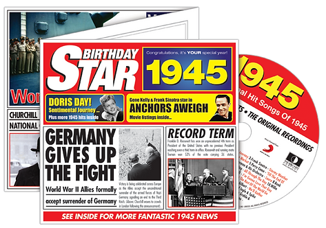 1945 Birthday Star Greeting Card with Hit Songs, Download Code and retro CD