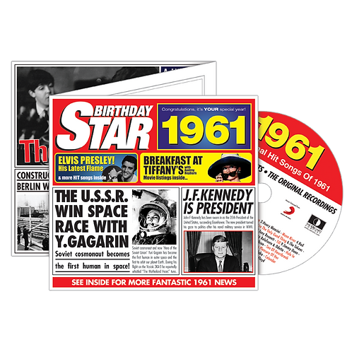 1961 Birthday Star - Year Of Birth Music Downloads Greeting Card + Retro CD
