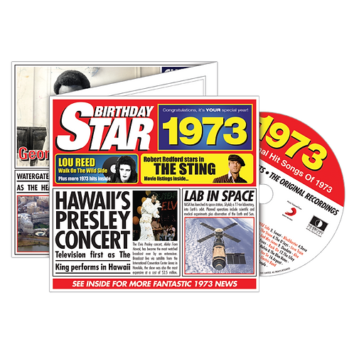 1973 Birthday Star - Year Of Birth Music Downloads Greeting Card + Retro CD