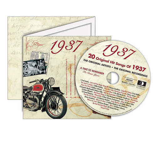 1937 Classic Years - Year Of Birth Music Downloads Greeting Card + Retro CD