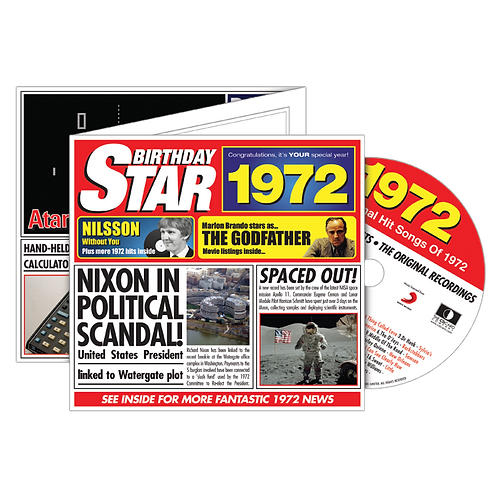 1972 Birthday Star - Year Of Birth Music Downloads Greeting Card + Retro CD