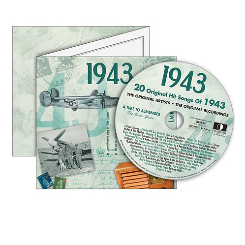 1943 Classic Years  - Year Of Birth Music Downloads Greeting Card + Retro CD