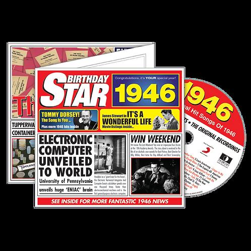1946 Birthday Star - Year Of Birth Music Downloads Greeting Card + Retro CD