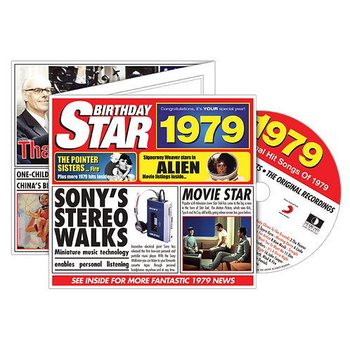 1979 Birthday Star - Year Of Birth Music Downloads Greeting Card + Retro CD