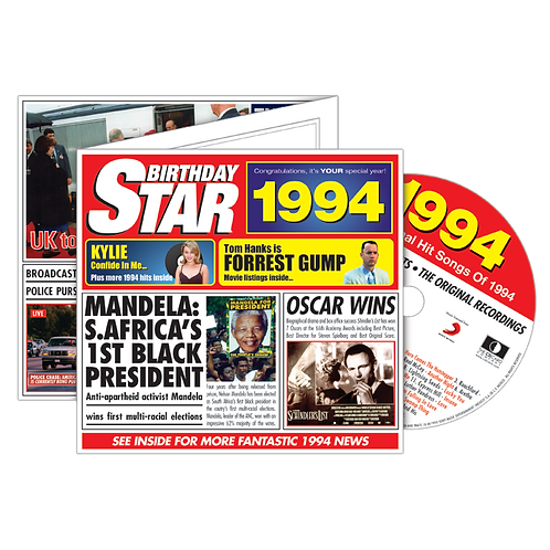 1994 Birthday Star Greeting Card with Hit Songs, Download Code and retro CD