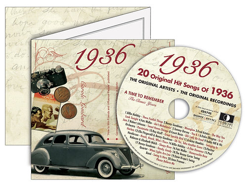 1936 Classic Years Greeting Card with Hit Songs, Download Code and retro CD